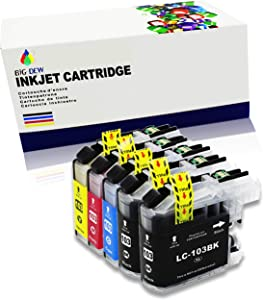 Big Dew Compatible Ink Replacement for Brother LC101 LC103XL MFC-J285DW, MFC-J4310DW, MFC-J4410DW MFC-J450DW MFC-J4510DW MFC-J4610DW MFC-J470DW MFC-J4710DW MFC-J475DW MFC-J870DW MFC-J875DW(5-Pack)