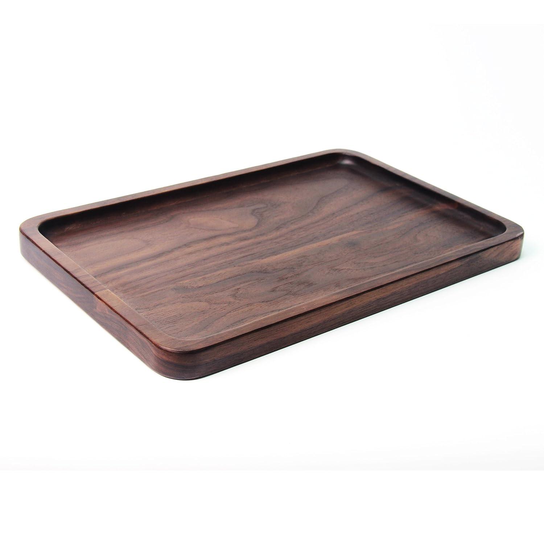 Black Walnut Wood Rectangular Tableware Salver Tray