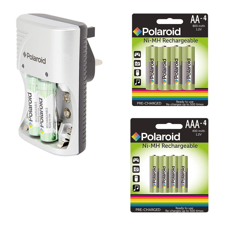 Tooltime Polaroid - Cargador de batería + 10 Pilas AA + AAA ...