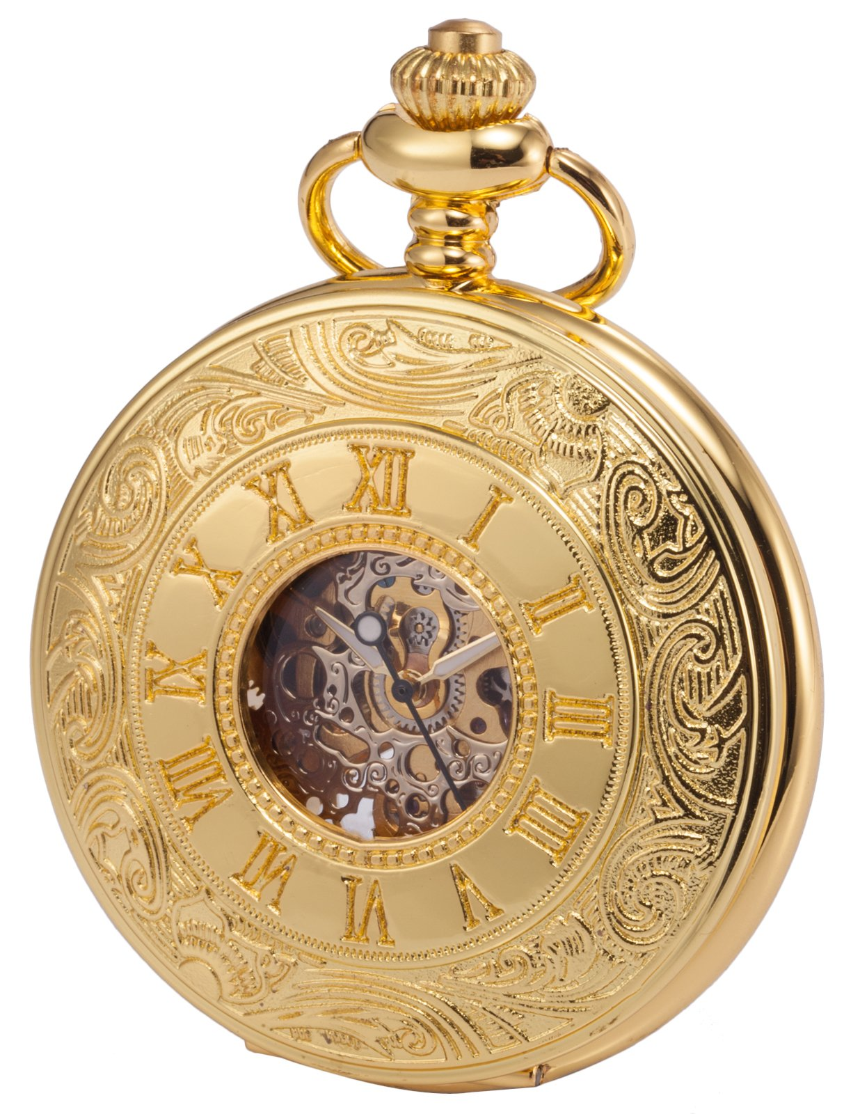 KS Pocket Watch with Chain for Men Skeleton Steampunk Mechanical Pocket Fob Watch Gold KSP031