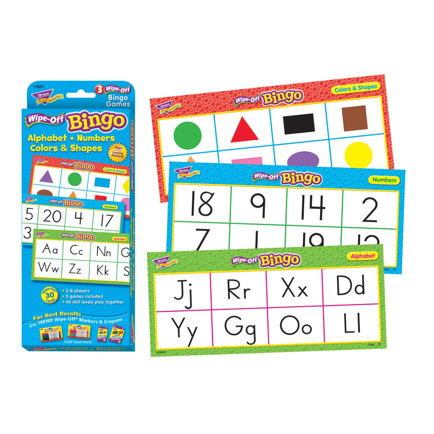 Trend Enterprises Alphabet  Numbers  Colors & Shapes Wipe-Off Bingo Game (28 Piece) T-6601