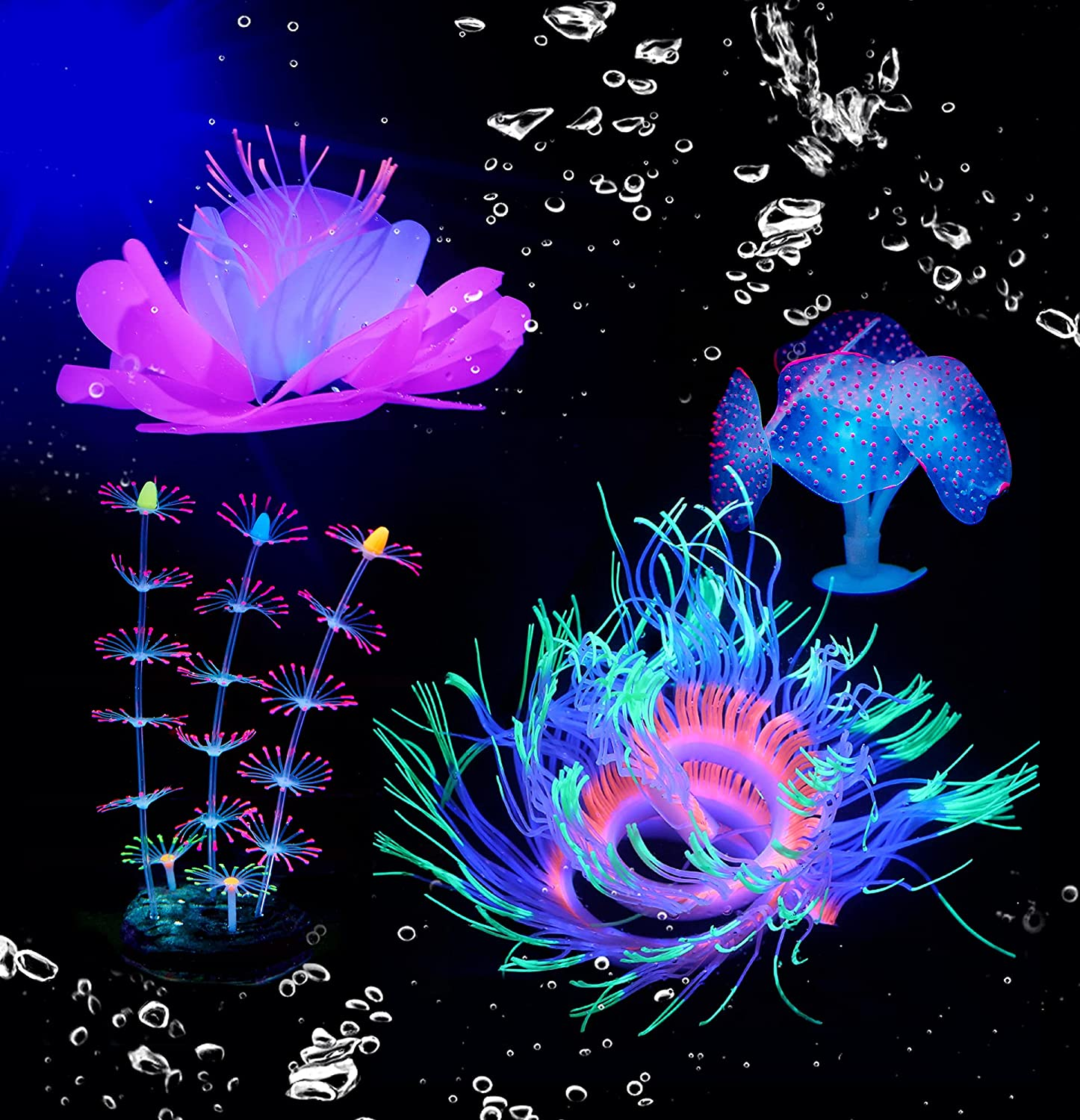 HIKTQIW 4Pcs Glowing Fish Tank Decorations Plants with Silicone Simulation Decoration for Fish Tank with Sucker Coral Sea Anemone Lotus Branch Coral