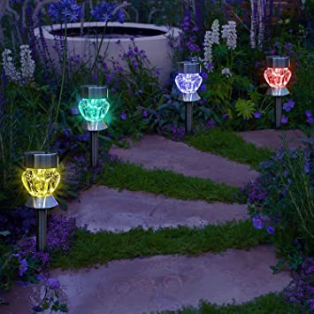 Garden mile pack of 4 colour changing led lights solar lights led garden mile pack of 4 colour changing led lights solar lights led solar lights garden aloadofball