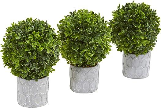 Amazon Com Nearly Natural 9 Boxwood Artificial Mini Topiary