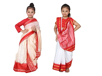af79b6a06b Buy ShriNikunj Rangoli Kids Cotton and Crush Bengali and Bihu Saree ...