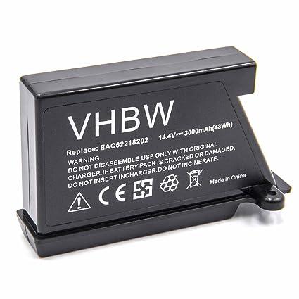 vhbw Li-Ion batería 3000mAh (14.4V) para robot limpiasuelos robot autónomo de limpieza LG HomBot VR6270LVB, VR6270LVM, VR6270LVMB, VR63455LV, VR63475