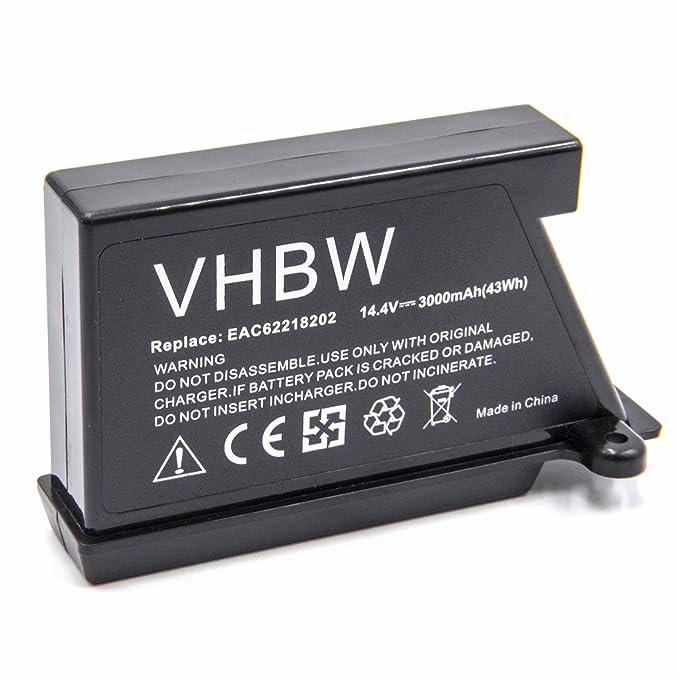 vhbw Li-Ion batería 3000mAh (14.4V) para robot limpiasuelos robot autónomo de limpieza LG HomBot VR5901LVM, VR5902LVM, VR5902LVMS, VR5903LVM, ...