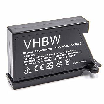 vhbw Li-Ion batería 3000mAh (14.4V) para robot limpiasuelos robot autónomo de limpieza LG HomBot VR6171LVM, VR6260, VR62601LV, VR62601LVM, VR6260LV