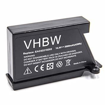 vhbw Li-Ion batería 3000mAh (14.4V) para robot limpiasuelos robot autónomo de limpieza LG Hom-Bot VR6270LVB, VR6270LVM, VR6270LVMB, VR63455LV, ...