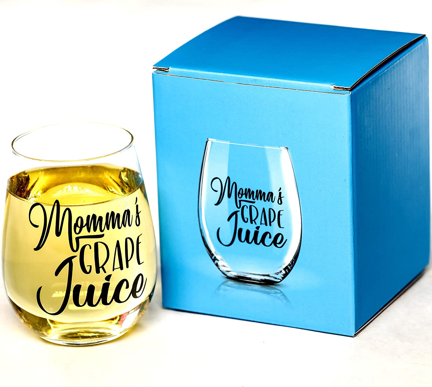 Momma's Grape Juice 15 oz Stemless Funny Wine Glass | Unique Birthday Gifts for Men or Women | Funny Gifts for Him or Her Idea for Office Coworker and Best Friend