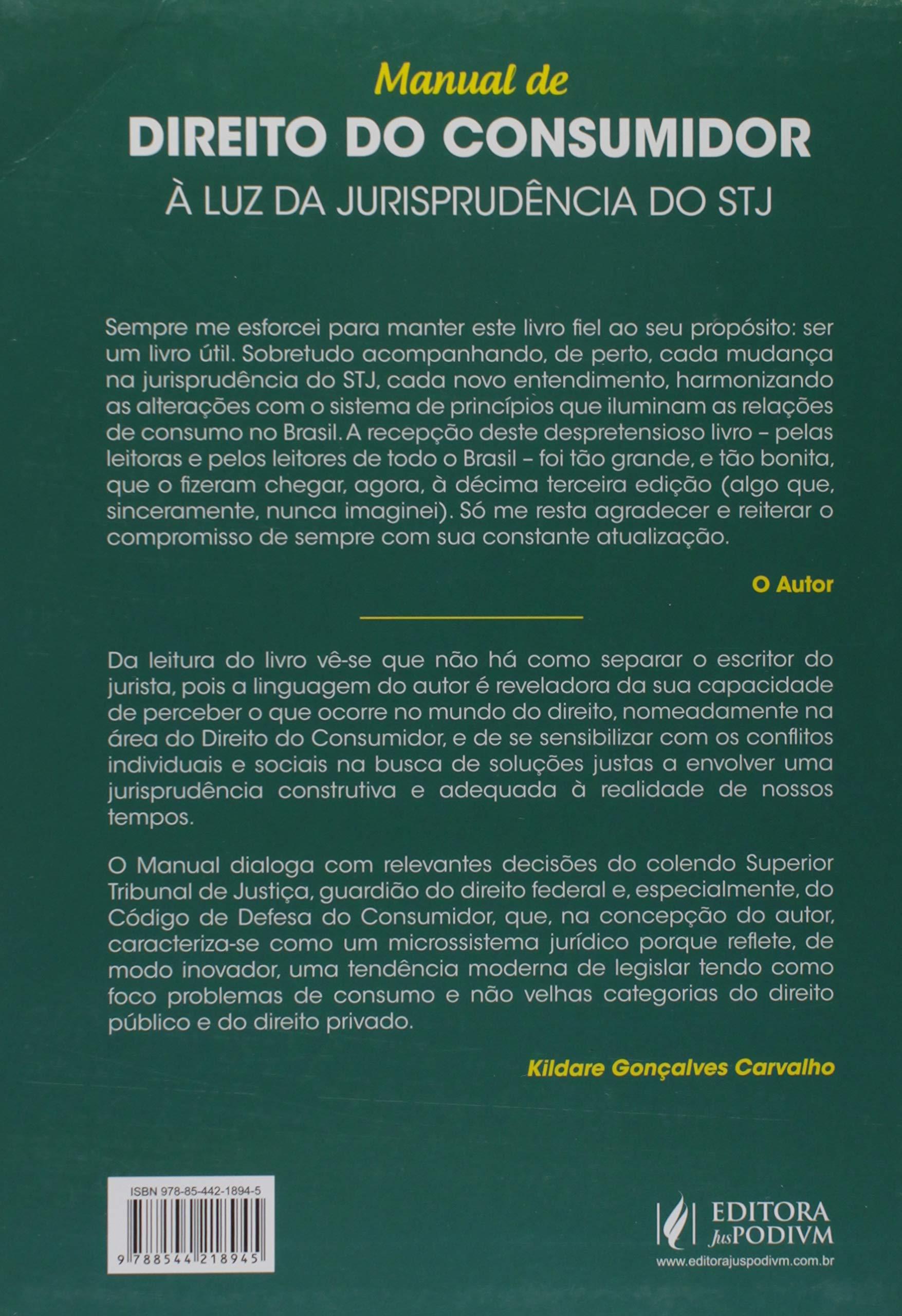 e0e55d1b1 Manual de Direito do Consumidor: à luz da Jurisprudência do STJ -  9788544218945 - Livros na Amazon Brasil