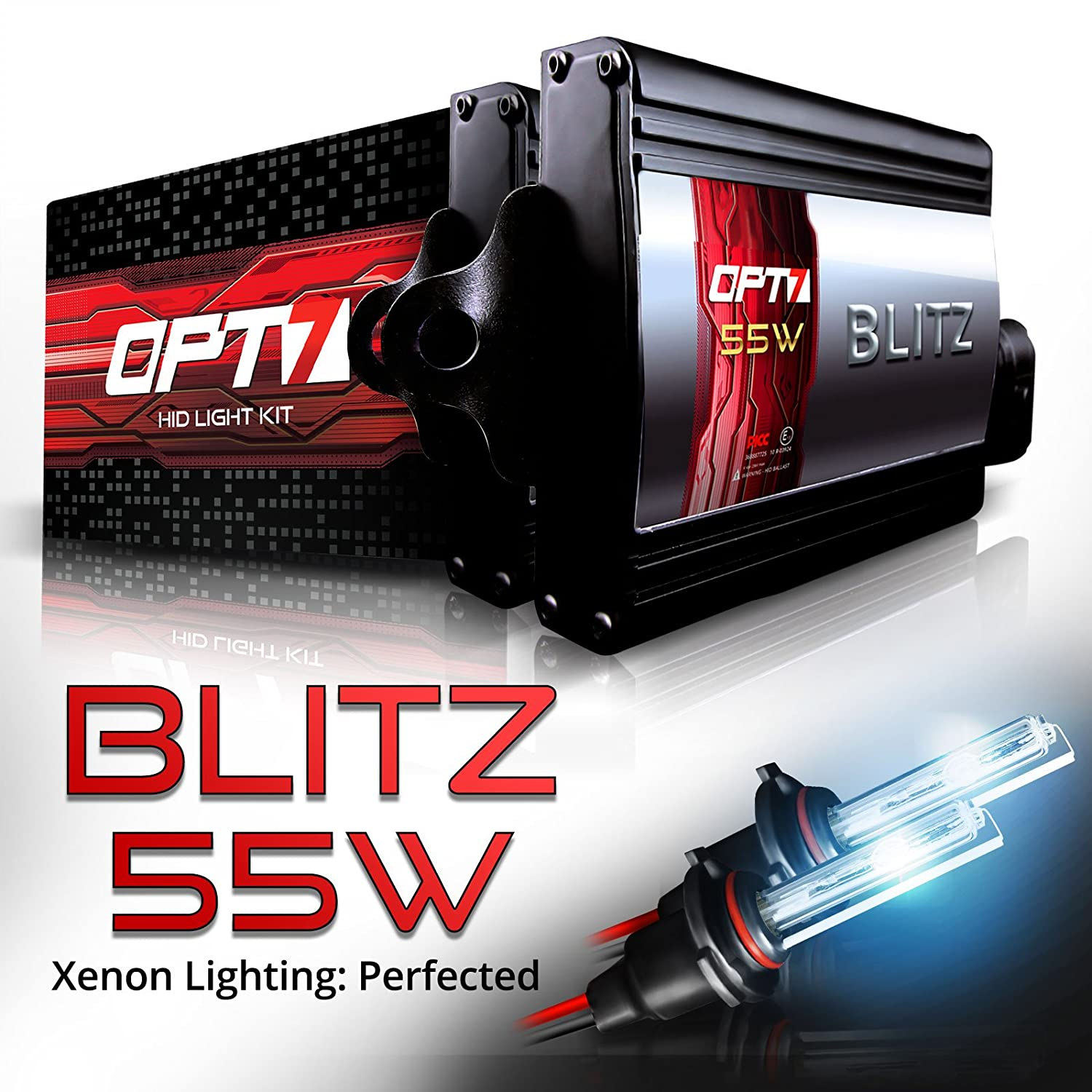Amazon.com: OPT7 Blitz 55w HID Xenon Conversion Kit 5x Brighter - 4x Longer  Life - All Colors and Sizes Simple DIY Install - 2 Yr Warranty - Bulbs and  ...