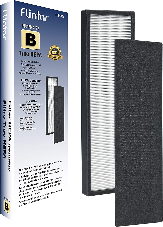 FLT4825 Premium True HEPA Replacement Filter B Compatible with GermGuardian and Germ Guardian Air Purifier AC4825, AC4825E, AC4825DLX, AC4300BPTCA, AC4850PT, AC4900CA, CDAP4500, and Oransi Finn, 1-Set