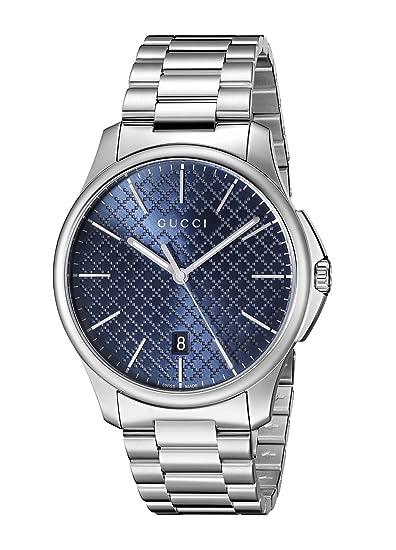 Gucci YA126316 - Reloj para hombre, con correa de acero inoxidable, de color azul: Amazon.es: Relojes