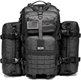 Military Tactical Backpack Waterproof Outdoor Gear for Camping Hiking ,Black + 2 Detachable packs