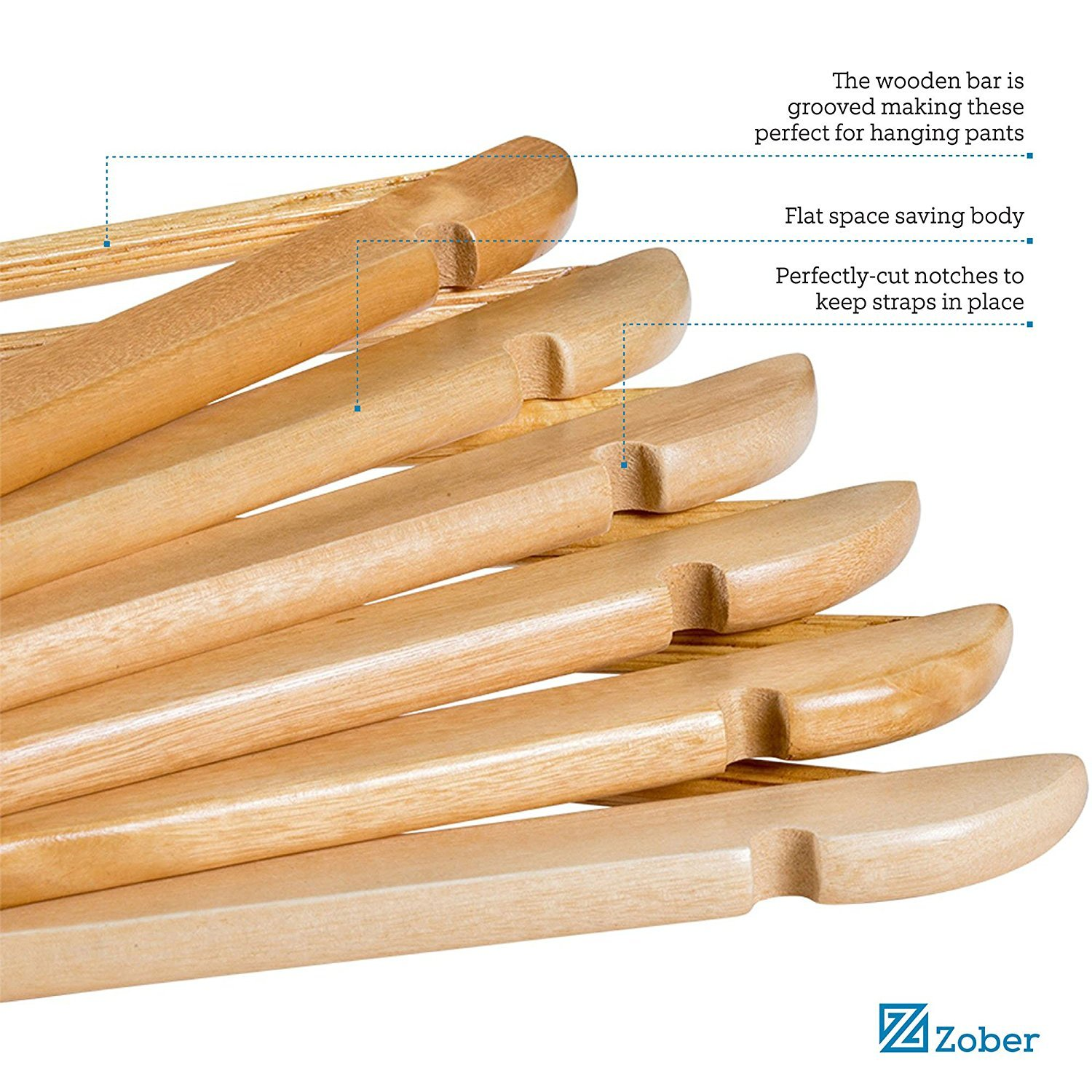 Zober Solid Wood Suit Hangers - 30 Pack - with Non Slip Bar and Precisely Cut Notches - 360 Degree Swivel Chrome Hook - Natural Finish Super Sturdy and Durable Wooden Hangers by ZOBER (Image #4)