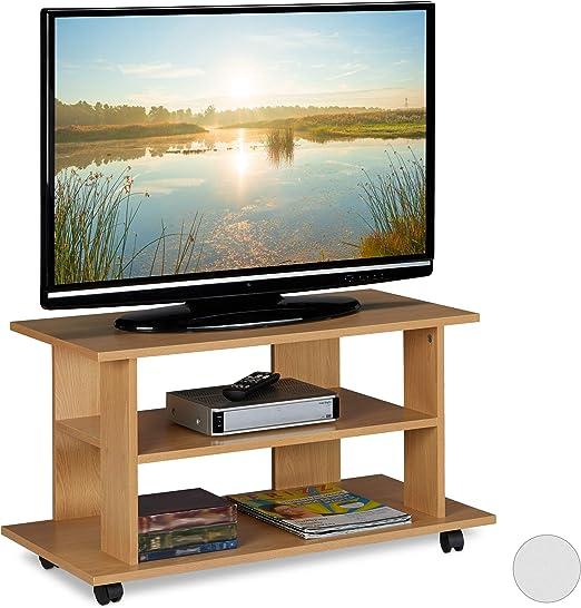Relaxdays Mueble TV Ruedas con 2 Compartimentos, Mesa Televisión ...
