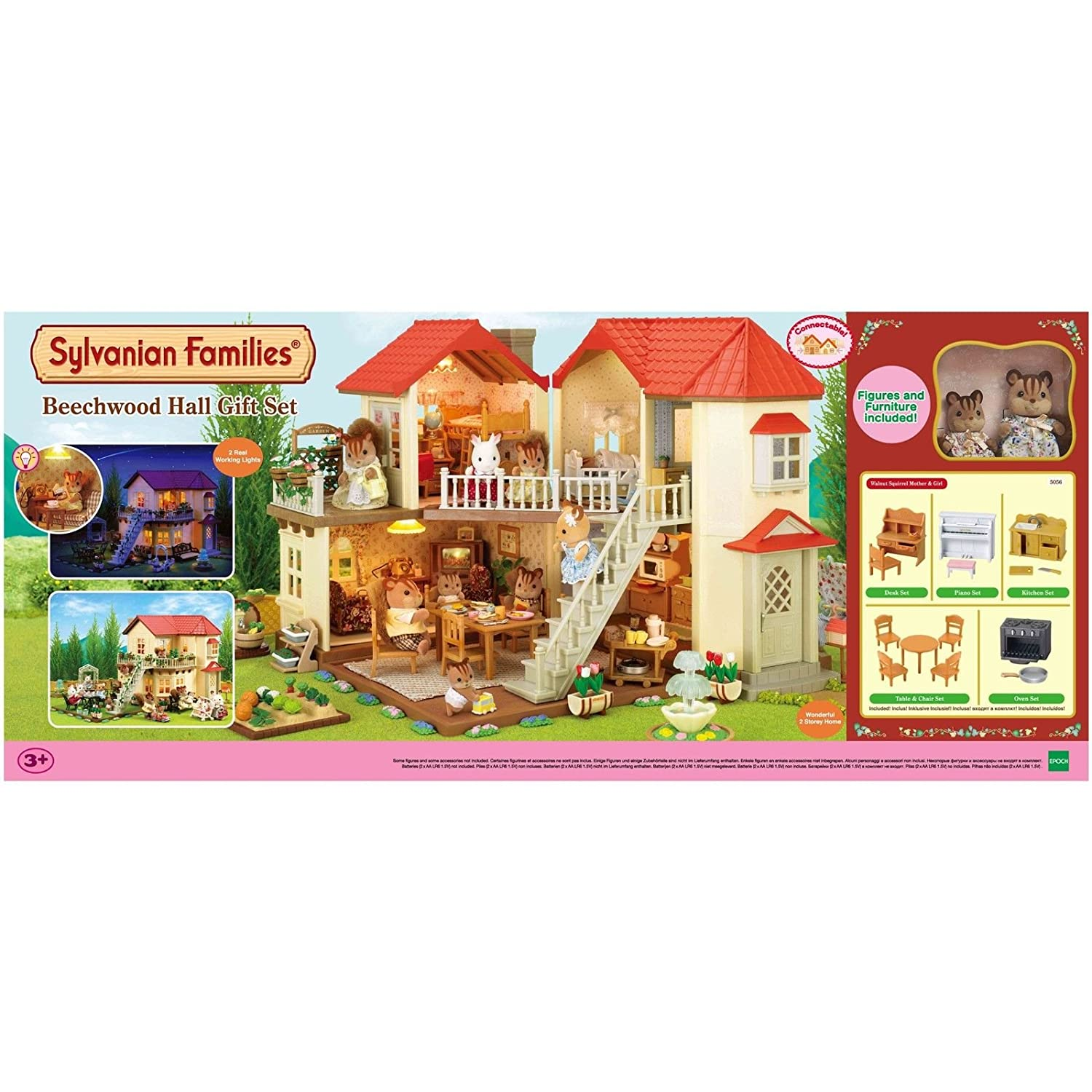 Sylvanian families beechwood hall gift set with figures and furniture 5056 amazon co uk toys games