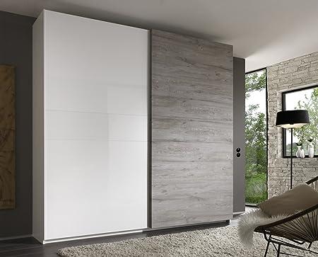 Matelpro design-Armario de 2 puertas abatibles, color blanco/gris Stevia-Armario 240 cm: Amazon.es: Hogar