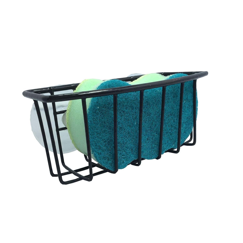 Hopeful by Long-Lived Durable Steel Construction Color Coated Large Suction Cups Kitchen Sink Sponge Storage Organizer Holder (Black)