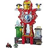 "Playskool Heroes Marvel Super Hero Adventures Iron Man Headquarters Playset, Iron Man & Hulk 2.5"" Action Figures, Vehicle, Toys for Kids Ages 3 & Up"