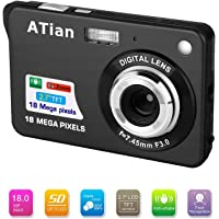 "ATian 2.7"" LCD HD Digital Camera Amazing Rechargeable Camera 8X Zoom Digital Camera Kids Student Camera Compact Mini Digital Camera Pocket Cameras for Kid/Seniors/Student (Black)"