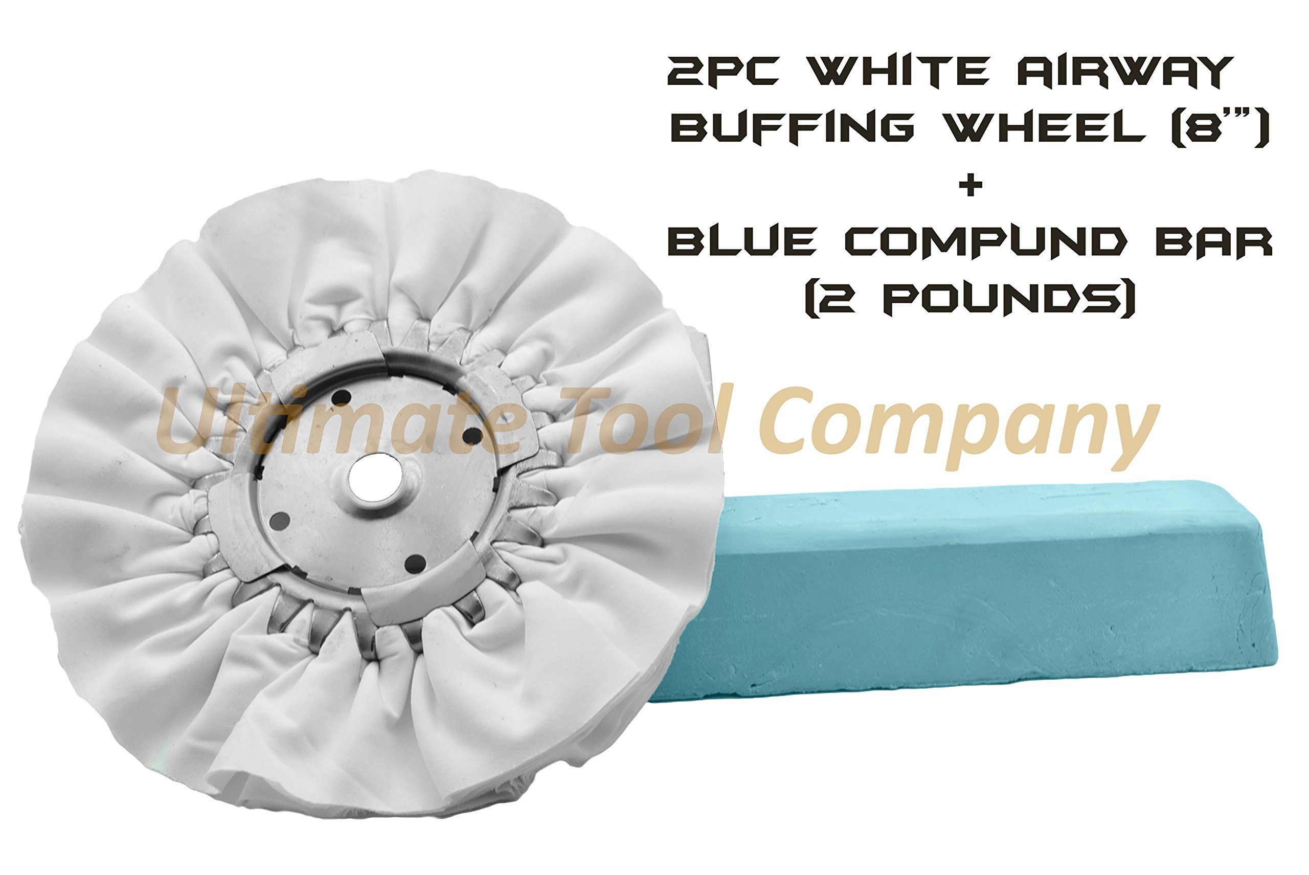 2pcs- Airway Buffing Wheel(White) & Blue Compound Rogue Metal Safe Polish Luster