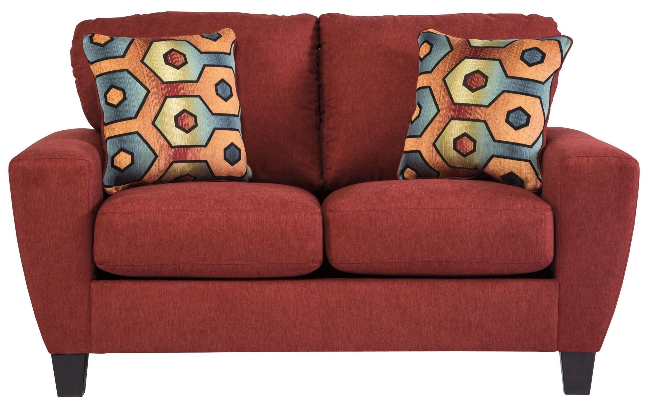 Ashley Furniture Signature Design - Sagen Loveseat Sofa - Contemporary Style Couch - Sienna Red