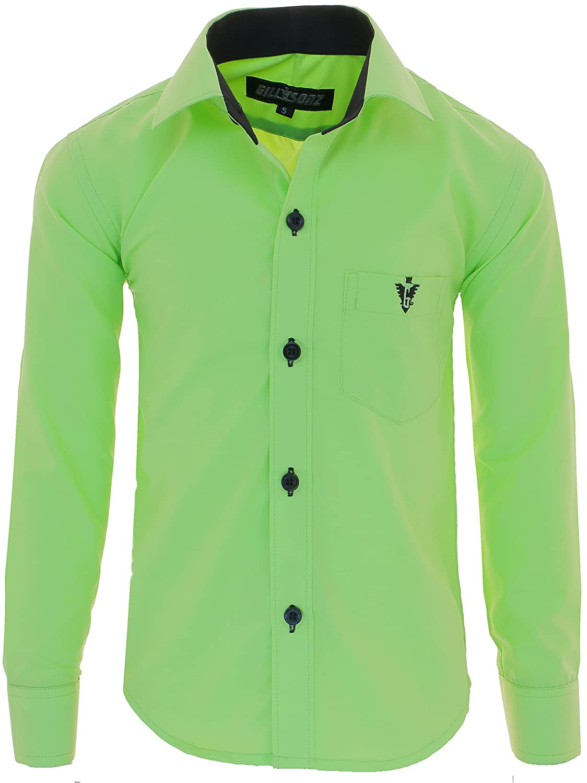 A7vDa Kinder Party Hemd Freizeit Hemd bügelleicht Lange Arm mit 10 Farben Gr.86Bis158