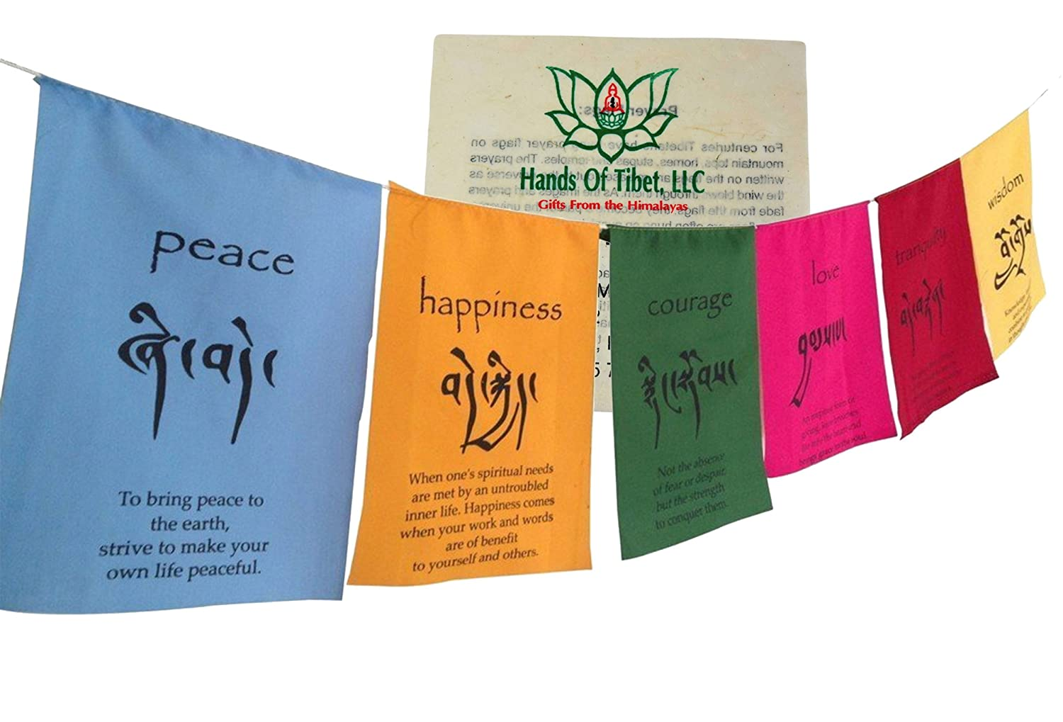 Hands Of Tibet Handmade Tibetan Affirmation prayer flags happiness courage love tranquility wisdom