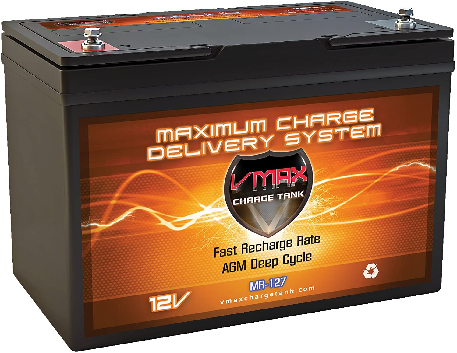 Amazon.com: VMAX MR127 12 Volt 100Ah AGM Deep Cycle Maintenance Free Battery Compatible with Boats and 40-100lb, minnkota, Cobra, sevylor and Other trolling Motor (Group 27 Marine Deep Cycle AGM Battery): Automotive
