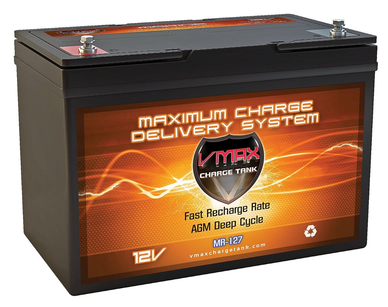 VMAX MR127 12 Volt 100Ah AGM Deep Cycle Maintenance Free Battery for boats and 40-100lb minn kota, minnkota, cobra, sevylor and other trolling motor (12V 100AH, GROUP 27 Marine Deep Cycle AGM Battery)