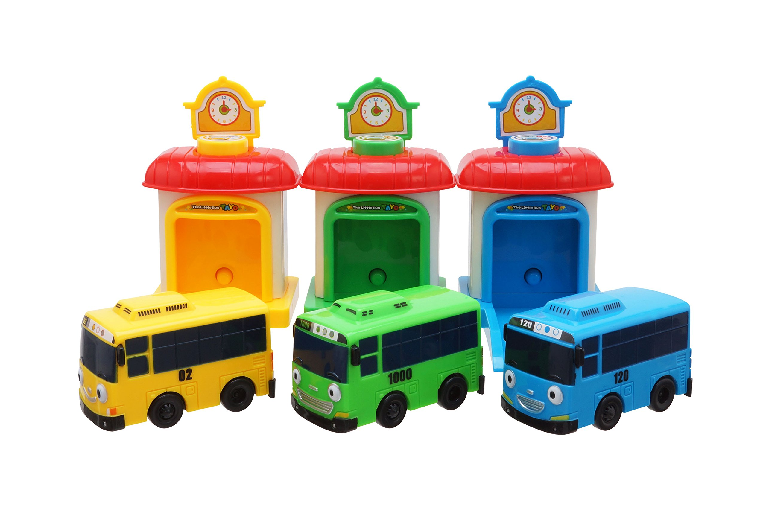 Tayo the Little Bus, Shooting Car Set, Pull-back Motor & Station Set, TAYO, ROGI, LANI