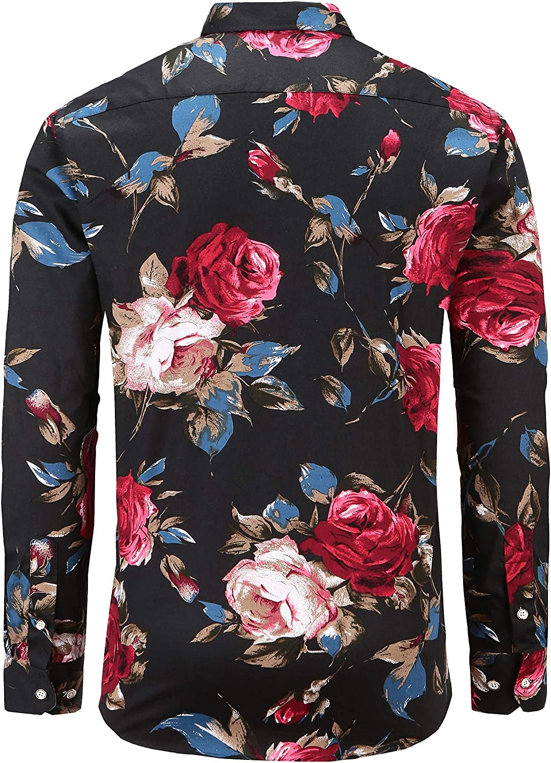 Dioufond Mens Floral Dress Shirt Button Down Long Sleeve Flower Shirts