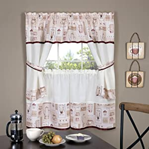 "Achim Home Furnishings Cappuccino Embellished Cottage Window Curtain Set, 58"" x 36"", Multicolor"