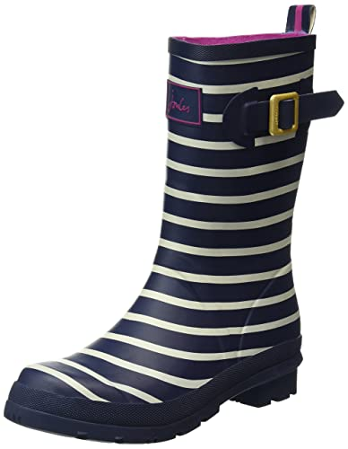 a7b730910eb9 Joules Molly Welly Mid Height Printed, Damen Stiefel, Blau (excl Navy  Stripe)
