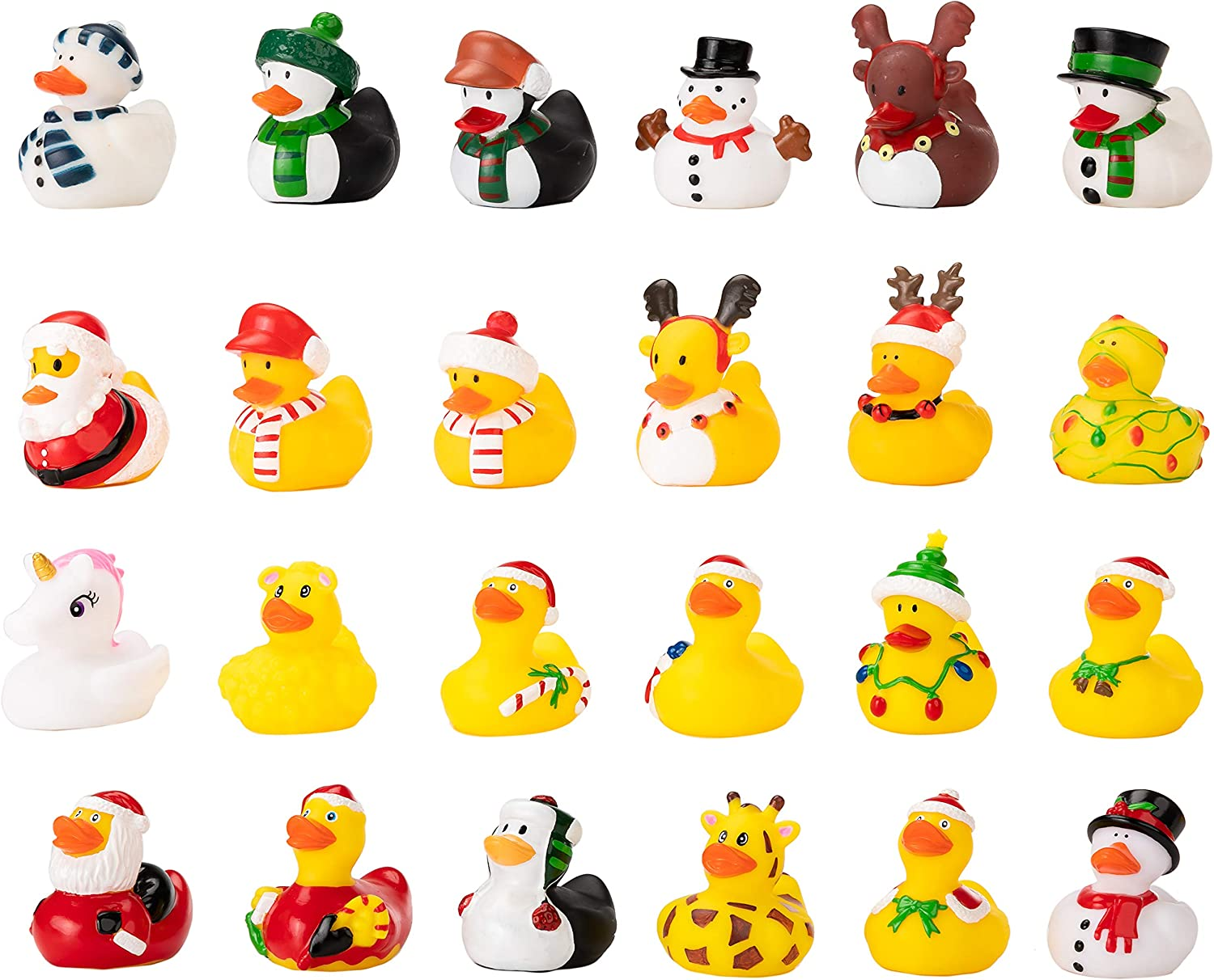 Kids and Toddlers Girls JOYIN 24 Pcs Christmas Rubber Ducks for Boys Christmas Party Favor Gifts