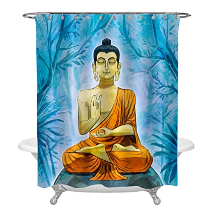 MitoVilla Golden Buddha Shower Curtain Set With Hooks Hand Drawn Blue Forest Trees Bathroom Accessories