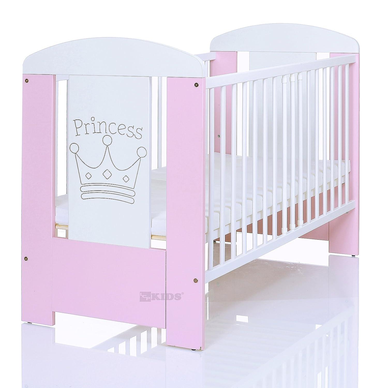 Kinderbett 120x60 cm wei/ß-rosa mit 3-fach H/öhenverstellbarer Komfort Matratze und 3 Schlupfsprossen