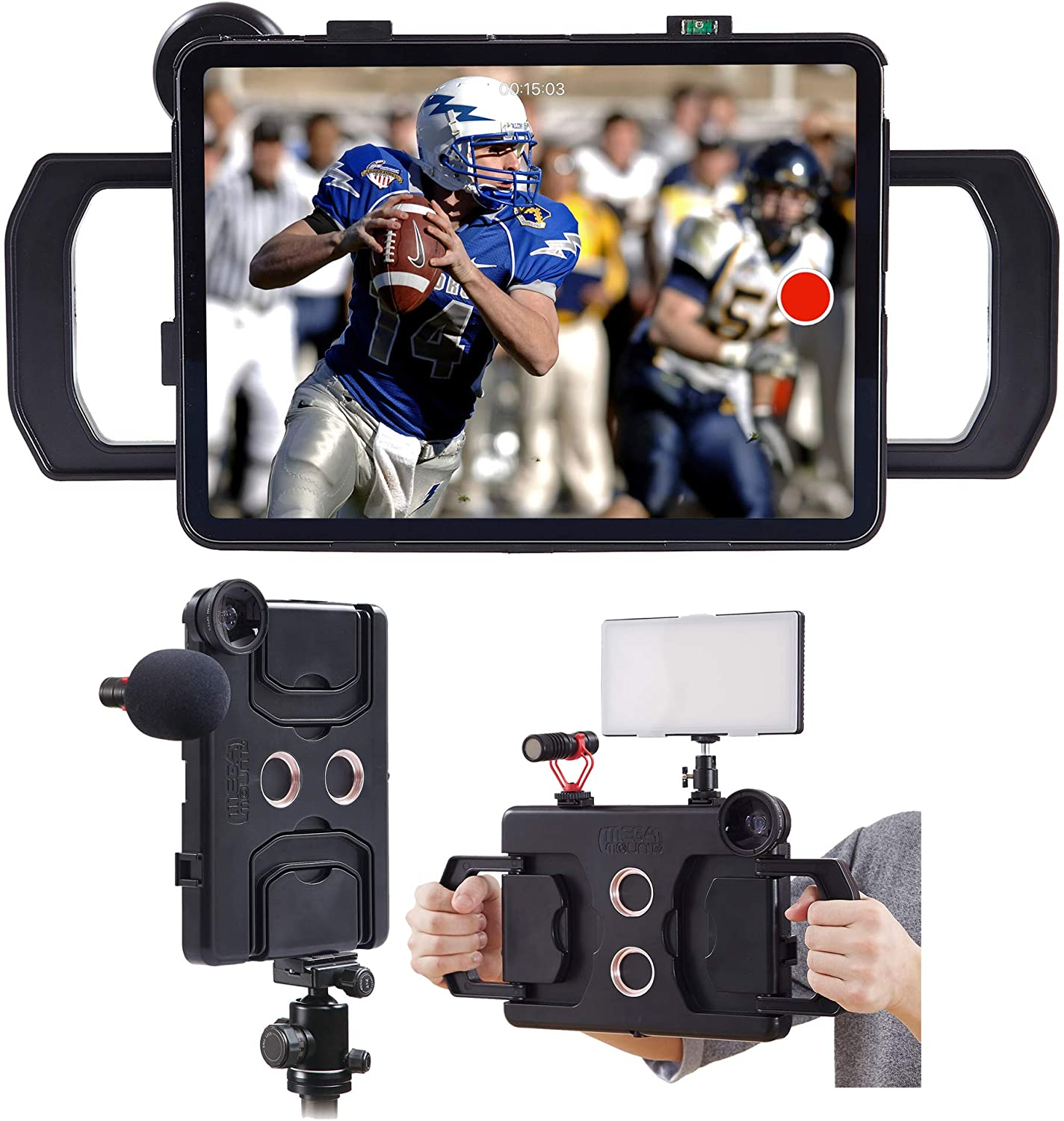 Great for Video Recording MegaMount Multimedia Rig Case Video stabilizer for Apple iPad Pro 12.9 inch Current 3rd Gen Only Lights Easily Attach Lenses Mounts on Tripods and Monopods Microphones