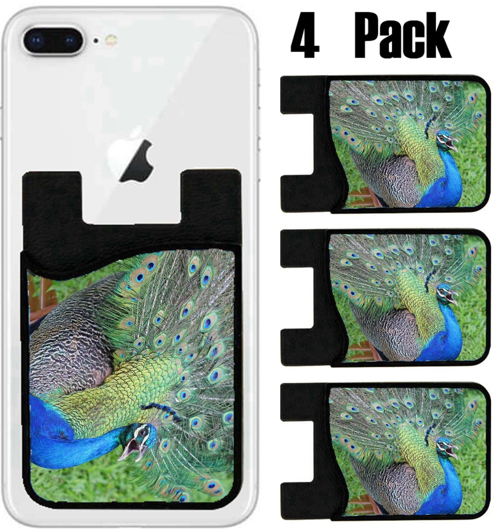 MSD Phone Card holder, sleeve/wallet for iPhone Samsung Android and all smartphones with removable microfiber screen cleaner Silicone card Caddy(4 Pack) IMAGE ID 32223535 Peacock opening its tail Jama