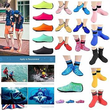 ZEDACA Agua Calcetines Descalzo Deportes Piel Zapatos Playa Surf Buceo casa Zapatillas Piscina Natación Yoga Calcetines para Niños Hombres Mujeres: ...