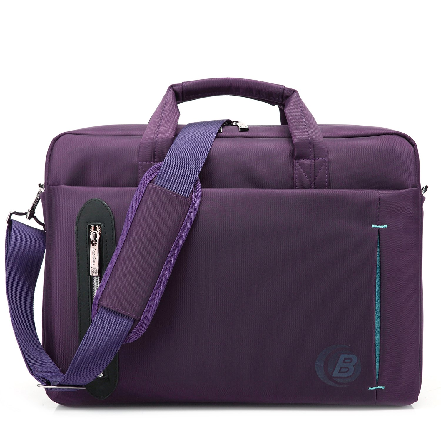 CoolBELL 17.3 inch Laptop Bag Messenger Bag Hand Bag Multi-Compartment Briefcase Waterproof Nylon Shoulder Bag for Laptop/Ultrabook / HP/MacBook / Asus/Lenovo / Men/Women/Business (Purple)