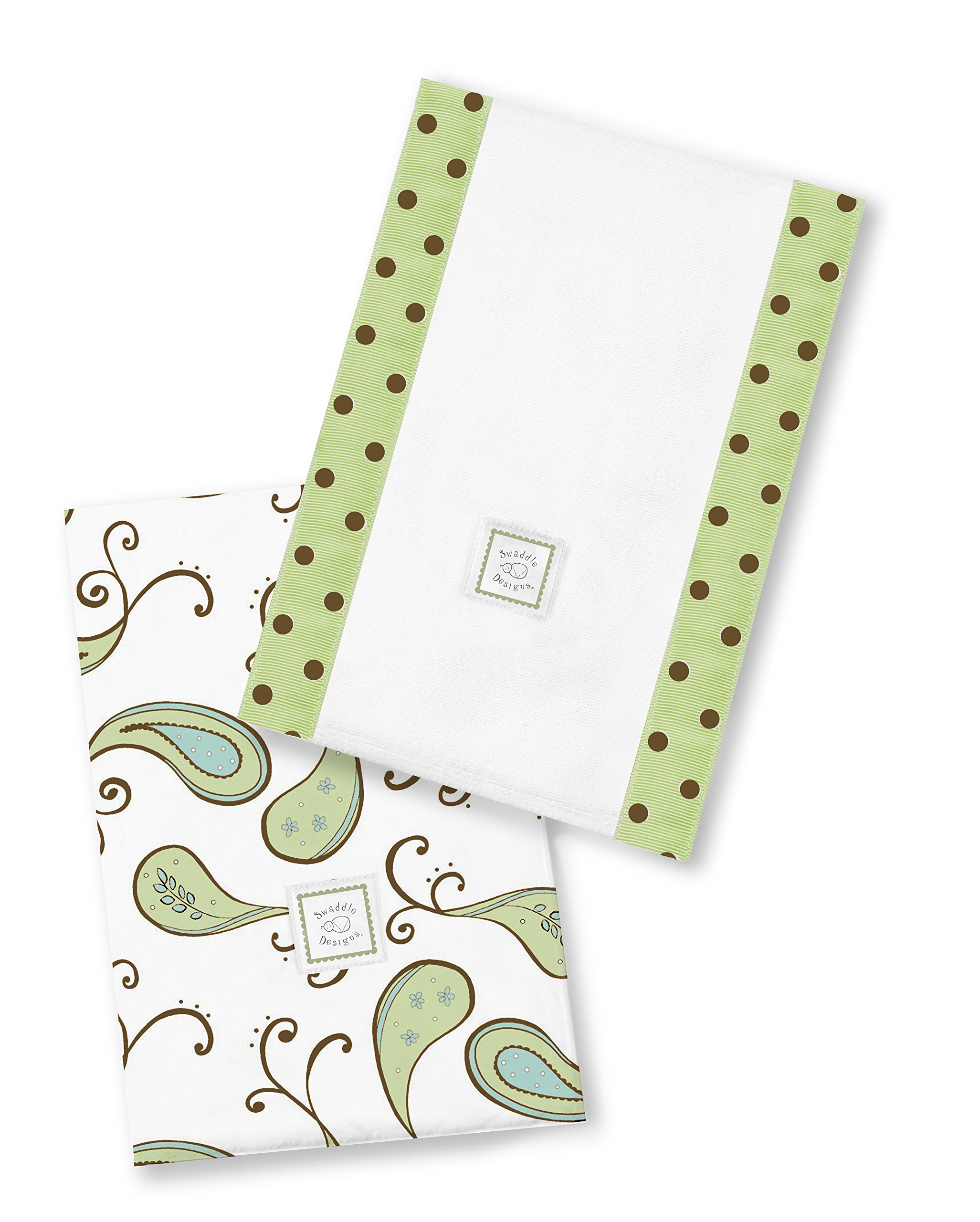 SwaddleDesigns Baby Burpies, Set of 2 Cotton Burp Cloths, Kiwi Paisley