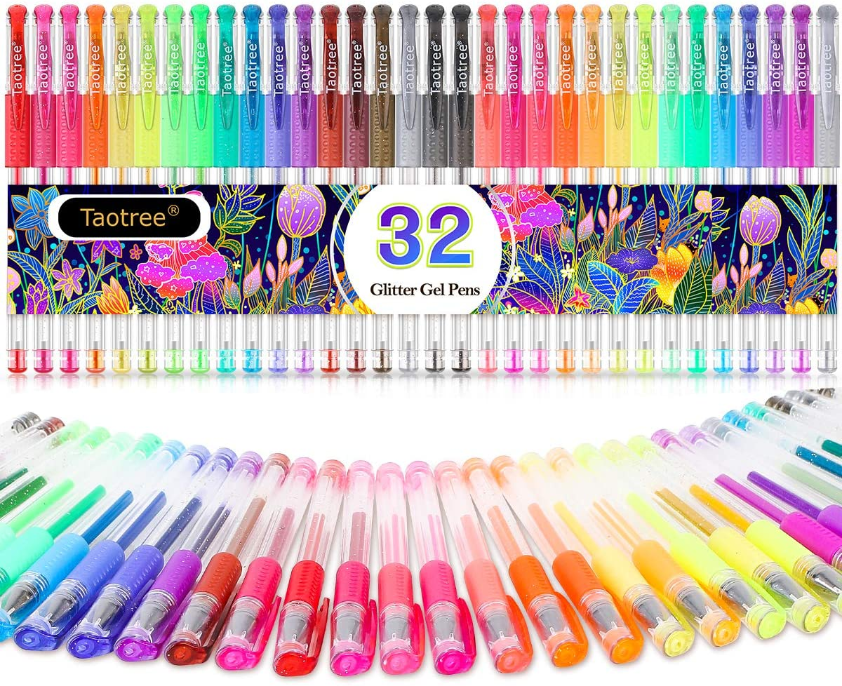 Glitter Gel Pens, 32 Colors Neon Glitter Pens Colored Pens Fine Tip Art Markers Set with 40% More Ink for Adult Coloring Books, Drawing, Doodling, Scrapbook, Bullet Journals, Great Back to School Gift