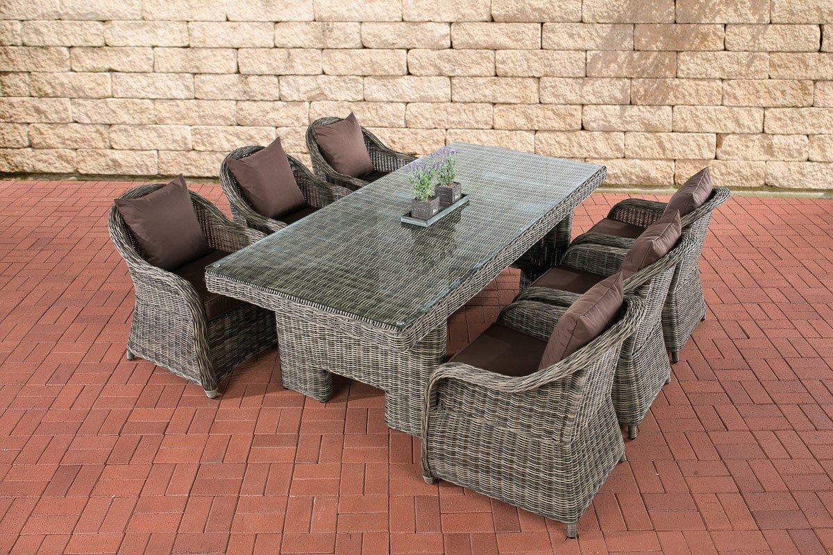 CLP Poly-Rattan Essgruppe CANDELA grau-meliert, 6 Sessel inkl. Polster + Tisch 220 x 100 cm, 5 mm Rundrattan grau-meliert, Bezugfarbe terrabraun