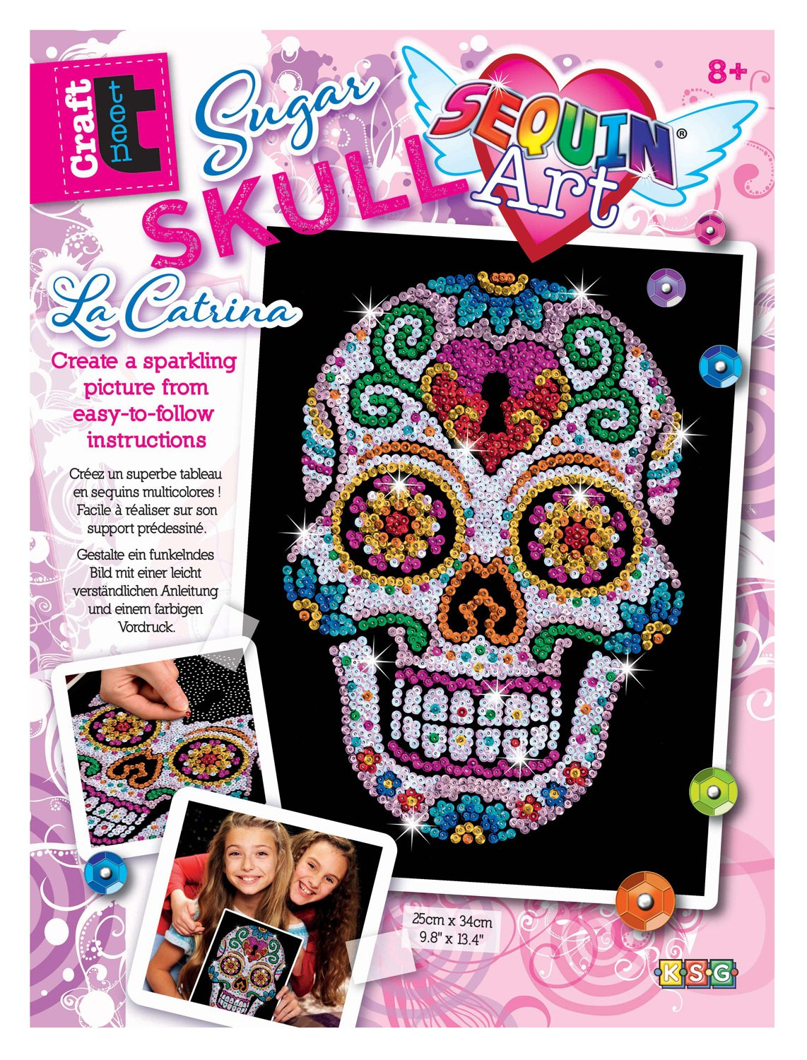 Sequin Art Sugar Skull Sparkling Arts and Crafts Picture Kit; Creative Crafts for Adults and Kids