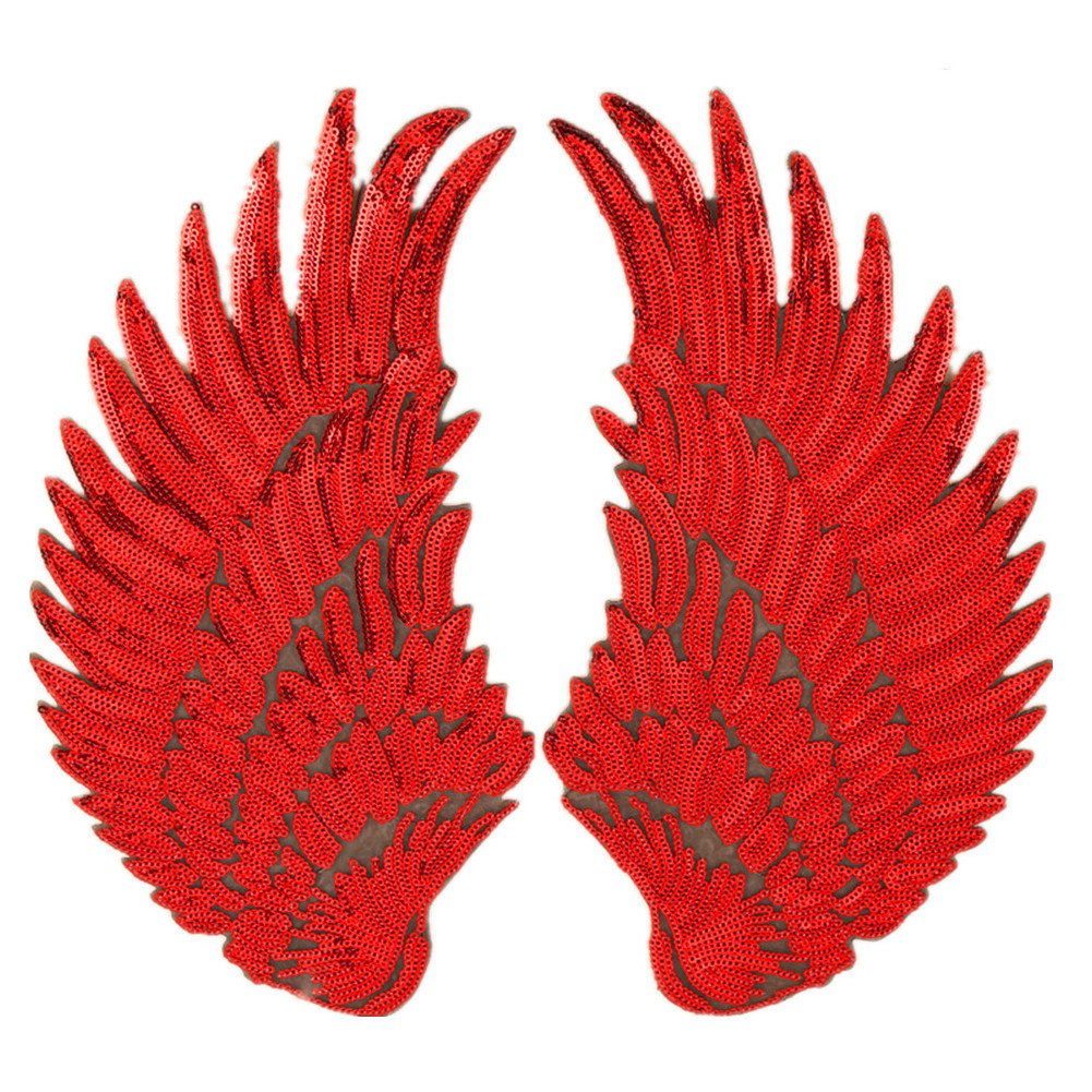 1 pair Jumbo Angel Wings Sequin Patches Iron on Sew on Appliques Embroidered Motif for DIY Clothing Accessories (Antique Gold) Zhiheng