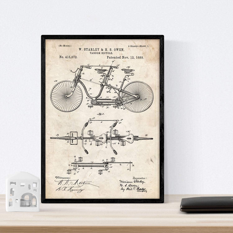 Nacnic Poster con Patente de Bicicleta Tandem. Lámina con diseño ...
