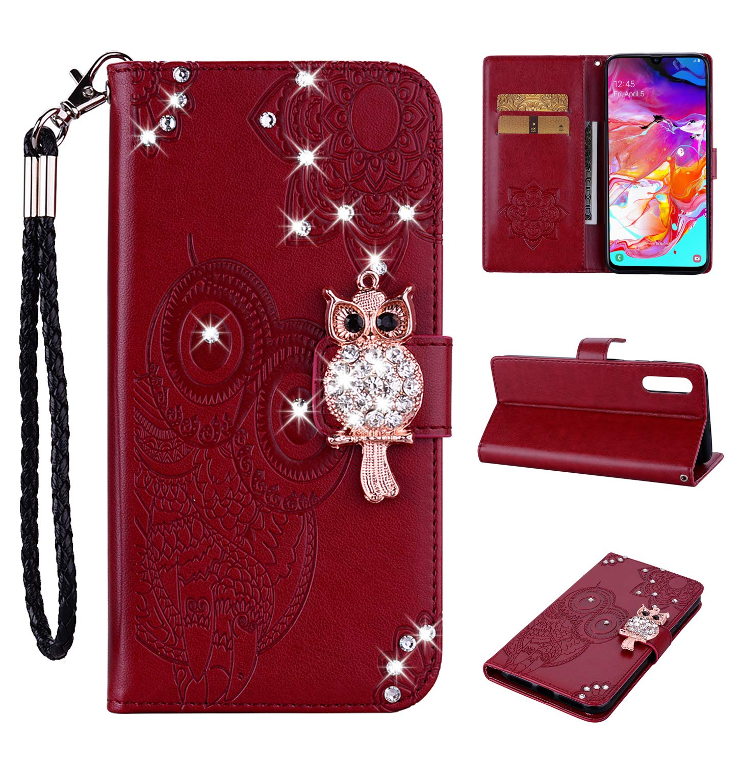 Amocase Wallet Case with 2 in 1 Stylus for Samsung Galaxy A50,3D Bling Gems Owl Magnetic Mandala Embossing Premium Strap PU Leather Card Slot Stand Case for Samsung Galaxy A50 - Red Brown by Amocase